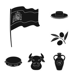 Spain country black icons in set collection for vector