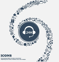 Support 24 hours icon in the center Around the vector image