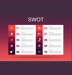 Swot infographic 10 option template strength vector