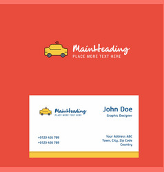 taxi logo design with business card template vector image