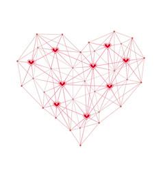 technology network design heart vector image