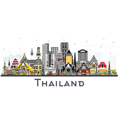thailand city skyline with color buildings vector image