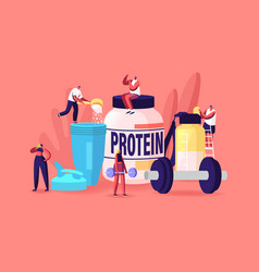 Tiny characters drinking protein cocktails from vector