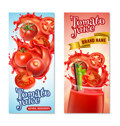 tomato juice vertical banners vector image
