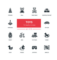 toys - flat design style icons set vector image