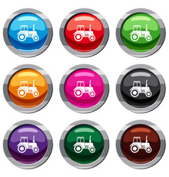 tractor set 9 collection vector image