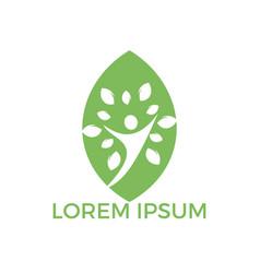 tree people leaf shape logo vector image