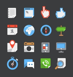 Trendy modern color web interface icons collection vector image