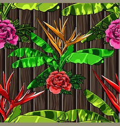 tropical leaves and exotic flowers on wooden vector image
