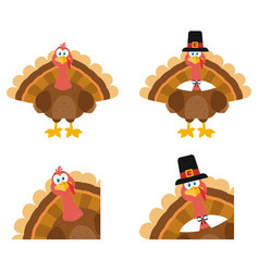 turkey bird character set collection vector image