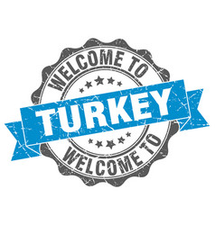 turkey round ribbon seal vector image vector image