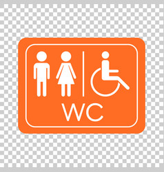 Wc toilet icon men and women sign for restroom vector