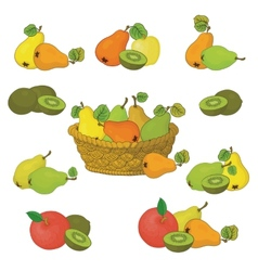 Wicker basket and fruits set vector