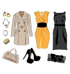 Woman wardrobe clothes accessories set vector