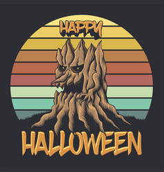 wood tree sunset retro happy halloween illu vector image