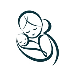 Young mom hugs her bastylized symbol vector