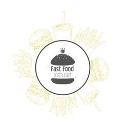 Fast food background and round label with hand vector image