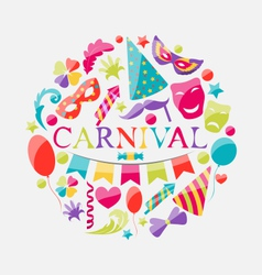 Festive banner with carnival colorful icons vector image vector image