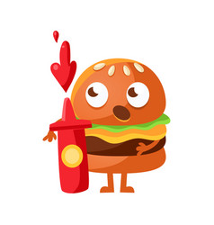 funny burger with big eyes standing and holding a vector image