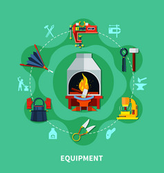 blacksmiths tools icons composition vector image