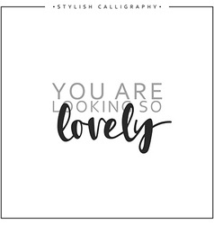 Calligraphy isolated inscription phrase you are vector image