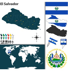 El Salvador map world vector image vector image