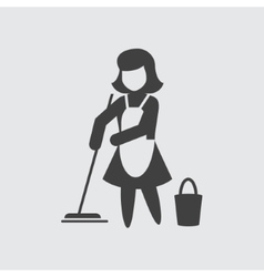 Maid cleaning icon vector image vector image