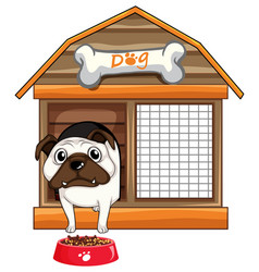 pug dog in dog house vector image