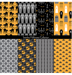 seamless halloween collection vector image vector image