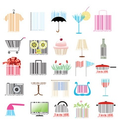 set of stylized barcodes vector image vector image