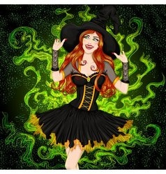 Sexy witch with long hair in a hat vector