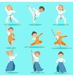 Children on martial arts practice vector