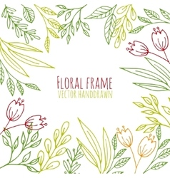 Floral frame with hand drawn flowers and plants vector image