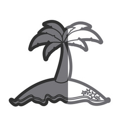 gray thick contour of island with palm tree vector image
