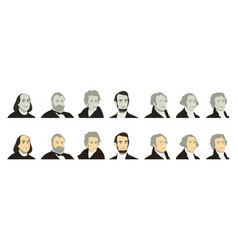 portraits of us presidents and famous politicians vector image