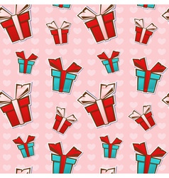 Seamless repeating pattern with colorful gift boxe vector image