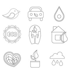 set of 9 eco icon black outline on white vector image