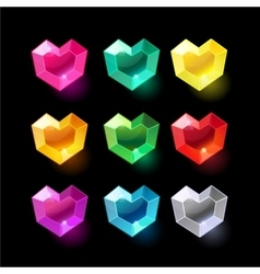Set of cartoon heart different color crystals vector image