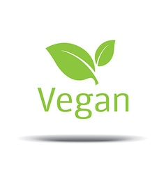 Vegan Logo fresh green leaf on a white background vector image