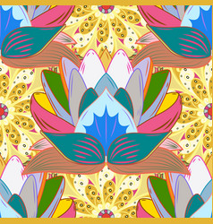 yellow blue and neutral hand drawn pattern vector image