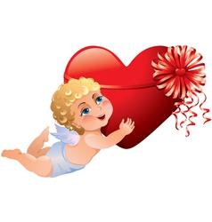 Cupid brings heart vector