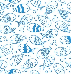 Fish doodle seamless pattern vector image