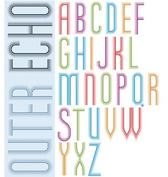 Poster echo light striped font bright condensed vector image