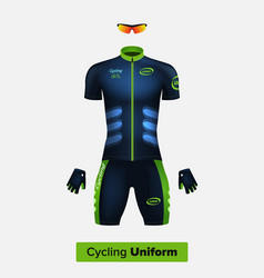 realistic cycling uniform template blue vector image vector image