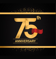 75 years anniversary logotype with premium gold vector