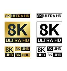 8k ultra hd icon 8kuhd tv symbol high vector image