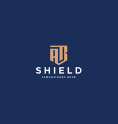 Ab letter shield icon vector