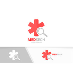 ambulance and loupe logo combination medic vector image