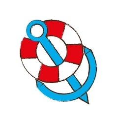 Anchor life buoy boat travel color sketch vector