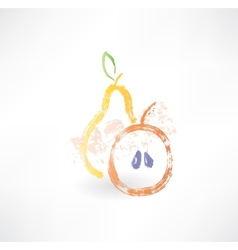 Apple and pear grunge icon vector
